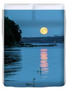 Swans Gliding Into The Moonlight During A Moonrise In Stockholm Duvet Cover
