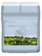 Swans In Flight Duvet Cover
