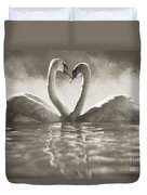Swans In Lake Duvet Cover