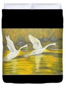 Swans In The Fall In Montana Duvet Cover