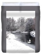 Swans In The Snow Duvet Cover