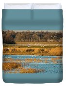 Swans Returning To The Roost At Riverlands 7r2_dsc3855_12202017 Duvet Cover