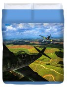 Swatting Down A Swallow - Oil Duvet Cover