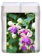 Sweet Fuchsia Flowers Duvet Cover
