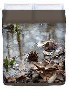 Sweet Gum Seed Pod In Mississippi Winter Duvet Cover