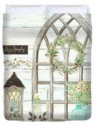 Sweet Life Farmhouse 3 Gothic Window Lantern Floral Shiplap Wood Duvet Cover