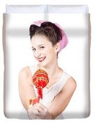 Sweet Lolly Shop Lady Offering Over Red Lollipop Duvet Cover