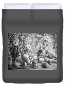 Sweet Tea And Sweet Dreams Black And White Duvet Cover