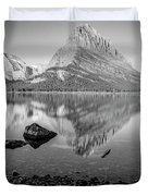 Swift Current Lake Reflection Black And White  Duvet Cover