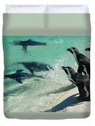 Swim Race - African Penquins Duvet Cover