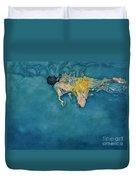 Swimmer In Yellow Duvet Cover