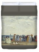 Swimmers On Trouville Beach Duvet Cover