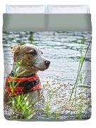 Swimming Family Dog Duvet Cover