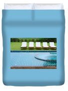 Swimming Pool And Chairs Duvet Cover by Atiketta Sangasaeng
