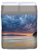 Swirling Cloudy Sunrise Seascape Duvet Cover