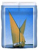 Switzerland, Lake Geneva, Montreux, Sailing Boat Duvet Cover