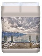Switzerland, Montreux, Dock On The Lake. Duvet Cover