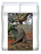Sycamore Tree And Fall Leaves Duvet Cover