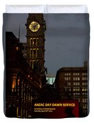 Sydney Clock On Anzac Day At Dawn Duvet Cover