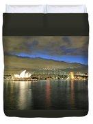 Sydney Harbor At Blue Hour Duvet Cover