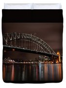 Sydney Harbor At Night With Train Duvet Cover