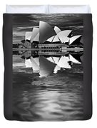 Sydney Opera House Reflection In Monochrome Duvet Cover