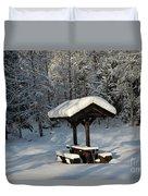 Table By Cross Country Ski Tracks Duvet Cover