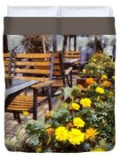 Tables And Chairs With Flowers Duvet Cover