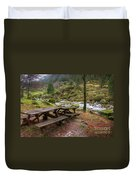 Tables By The River Duvet Cover by Carlos Caetano