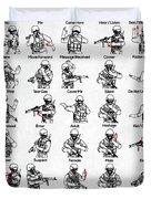 Tactical Hand Signals Duvet Cover