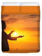 Tai Chi At Sunset Duvet Cover