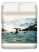 Tailing Whales Prince William Sound Duvet Cover
