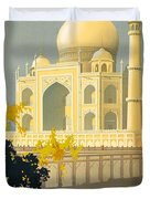 Taj Mahal Visit India Vintage Travel Poster Restored Duvet Cover