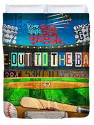 Take Me Out To The Ballgame Recycled Vintage License Plate Art Collage Duvet Cover