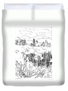 Tall Aspens Rocky Mountains Duvet Cover
