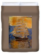 Tall Ship In The Sunset Duvet Cover