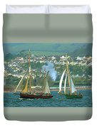 Tall Ships And Steam Trains Duvet Cover
