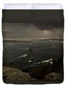 Tall Ships Heavy Rain And Wind In Sydney Harbour Duvet Cover