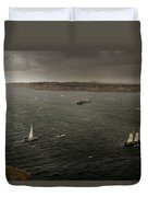 Tall Ships In The Entrance Of Sydney Harbour Duvet Cover