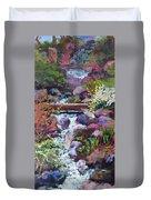 Tall Waterfall At The Botanic Gardens Duvet Cover