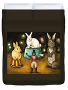 Taming Of The Giant Bunnies Duvet Cover by Leah Saulnier The Painting Maniac