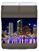 Tampa Bay Pano Lights Duvet Cover