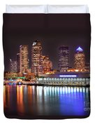 Tampa Skyline At Night Early Evening Duvet Cover