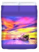 Tanah Lot Temple Sunset Bali Duvet Cover