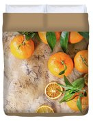 Tangerines With Leaves Duvet Cover