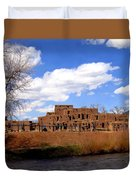 Taos Pueblo Early Spring Duvet Cover