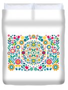 Flores Y Aves Duvet Cover