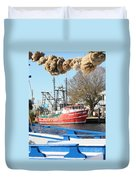 Tarpon Springs Shrimp Boat Duvet Cover