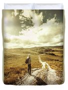Tasmanian Man On Road In Nature Reserve Duvet Cover