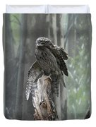 Tawny Frogmouth With It's Eyes Closed And Wing Extended Duvet Cover